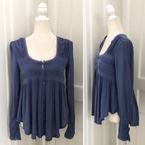 Free People Smocked Button Front Peasant Blouse